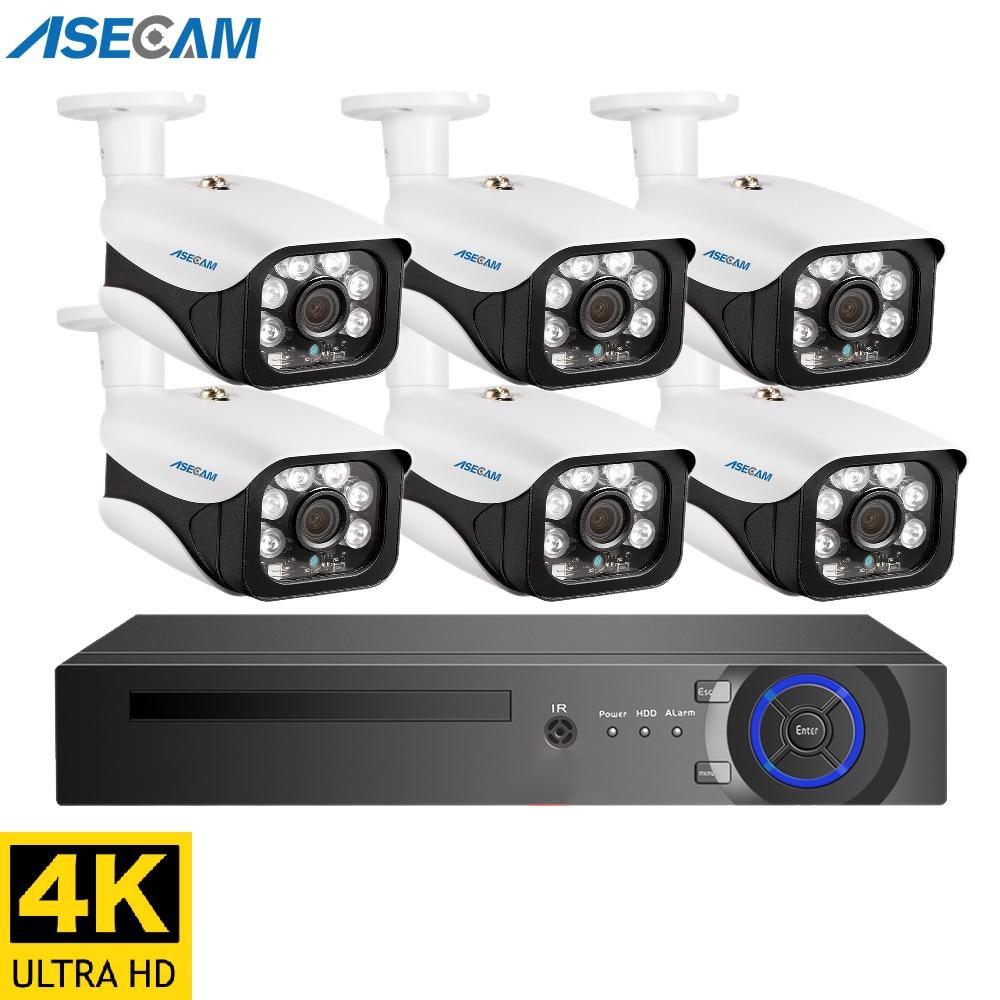 Супер 8MP 4K POE NVR видеонаблюдение комплект уличная система Купольная пулевая видео наблюдение для наружного домашнего IP камера видеонаблюден...