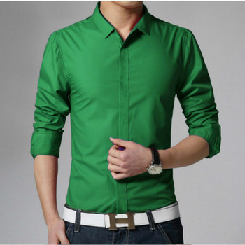 Spring New Men's Long Sleeve Shirts Cotton Solid Slim Tees Turn Down Collar Fashionable Tops Male Casual Green Shirts 2017 fashion solid full sleeve t shirt female spring autumn slim thin casual long tops turn down collar women sexy t shirts girl