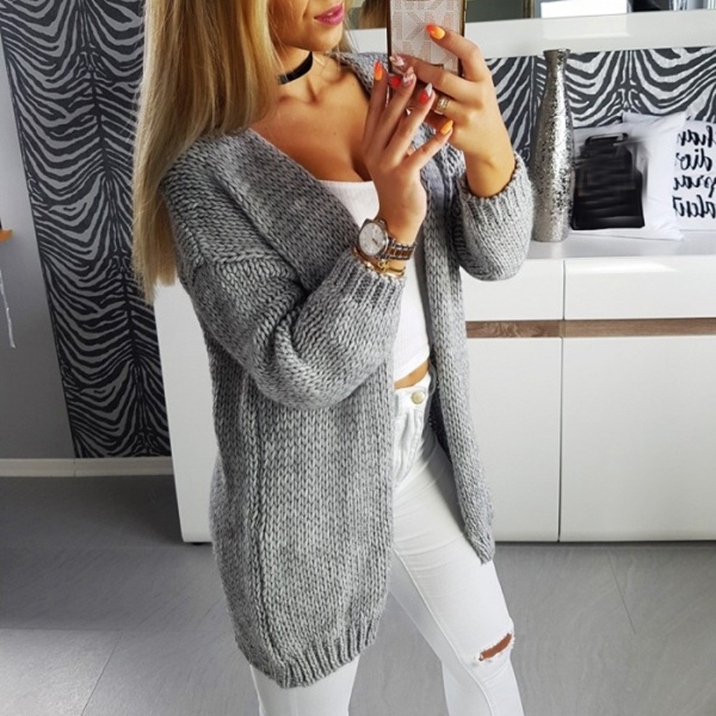 35#Women Cardigan Knitted Coat Sweater Casual Long Sleeve Solid Cardigan Tops Sweater Cover Up Knitted Coat Sweater