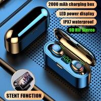 무선 이어폰 블루투스 V5.0 F9 TWS 무선 블루투스 헤드폰 LED 디스플레이 2000mAh 전원 은행 헤드셋 마이크