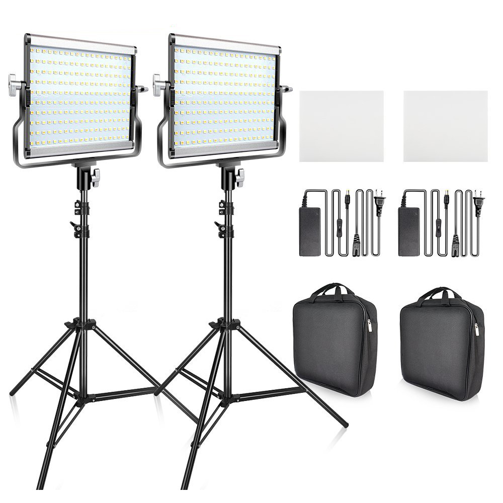 <font><b>L4500</b></font> <font><b>LED</b></font> <font><b>Video</b></font> <font><b>Light</b></font> 2 in 1 <font><b>Kit</b></font> Photographic Lighting Studio Lamp Bi-color 3200K-5600K Photo <font><b>Light</b></font> with Tripod for Youtube image