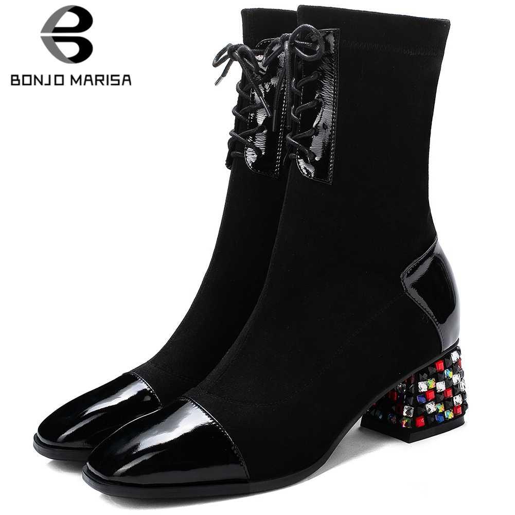 BONJOMARISA 33-43 Elegant Patchwork Booties สุภาพสตรีแฟชั่นสีดำยืดข้อเท้ารองเท้าผู้หญิง 2019 คริสตัลส้นรองเท้าผู้หญิง