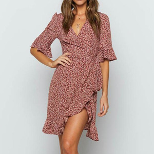 Image 5 - נשים של בורגונדי פרחוני הדפסת שמלת קיץ סקסי V צוואר ראפלס חצי שרוולים קו שמלות Boho חוף חופשת מיני שמלה קיצית