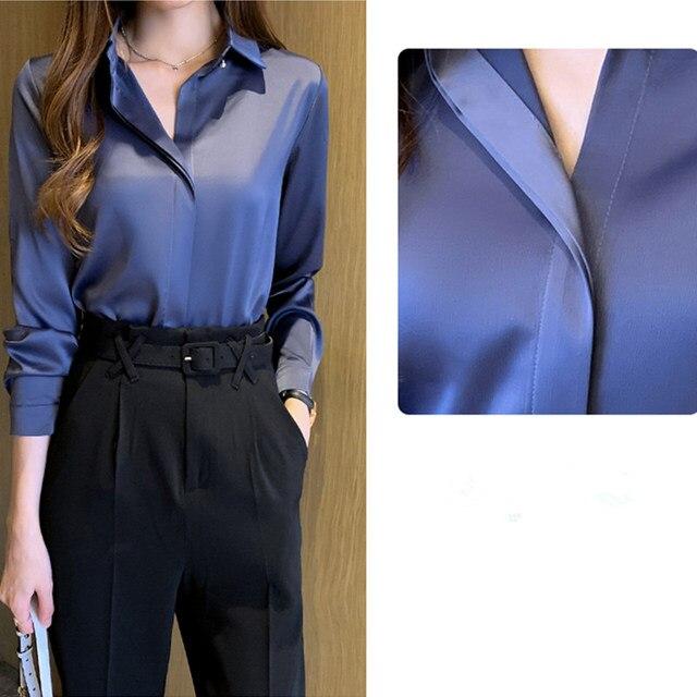 Silk Shirts Women White Shirt Women Long Sleeve Shirts Blouse Office Lady Satin Silk Blouse Tops Plus Size Woman Basic Shirt Top 6