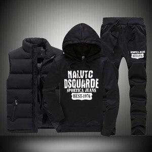 Image 3 - 3 個フード付き冬スーツ男性セット厚く暖かいベストパーカーパンツスーツジッパースポーツウェアセットメンズジョガーパーカースポーツスーツ