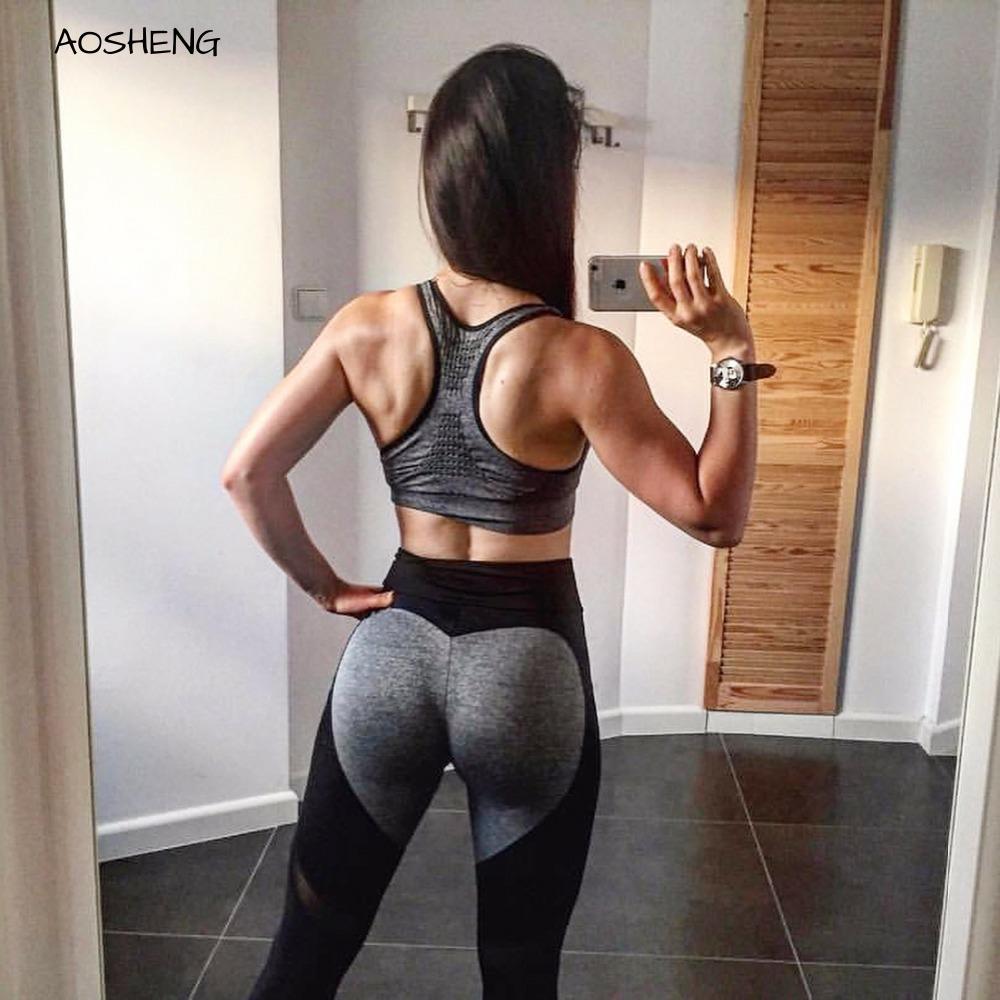[AoSheng] Plus Size XXXL Women Fitness Heart Shape Leggings Seamless Leggings Femme Summer Workout Running Leggings
