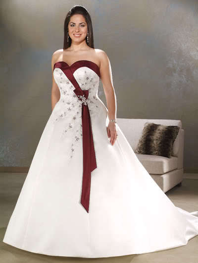 Dreses Free Shipping 2016 Plus-Size Custom White And Red Embroidery Sweetheart Wedding Dress Bridal Gown