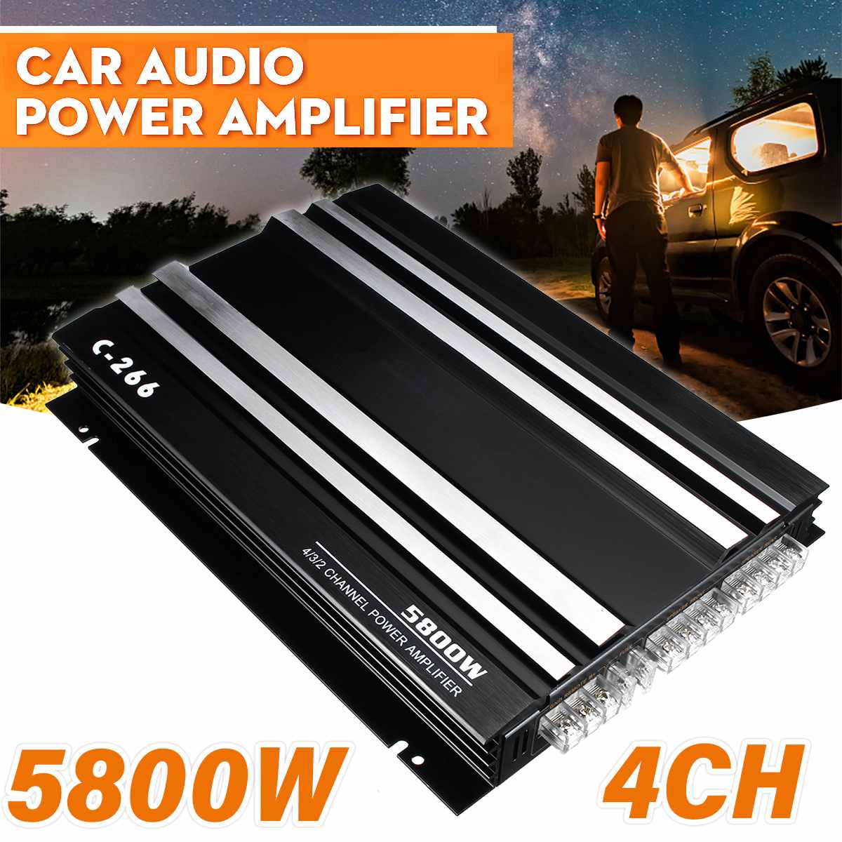 Автомобильный усилитель 12 в, 5800 вт, многоканальный мощный автомобильный аудиоусилитель, сабвуфер из алюминиевого сплава, автомобильный сте...