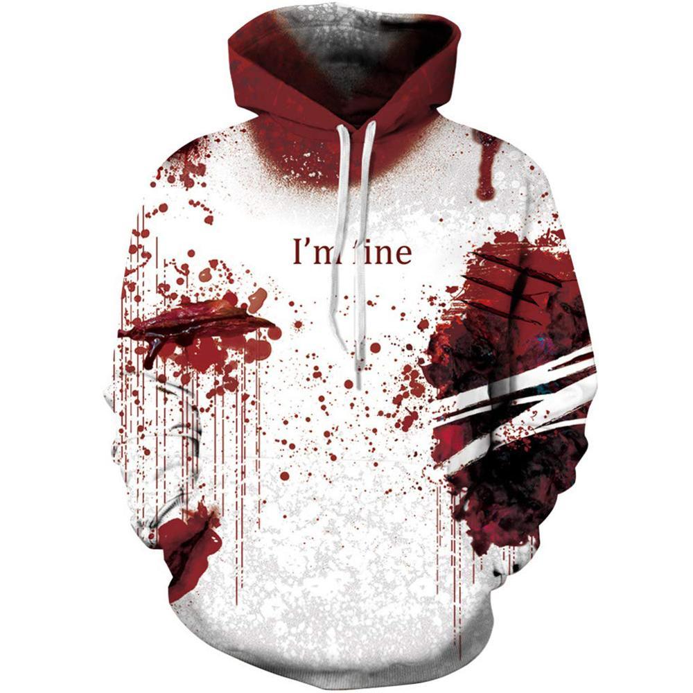 Men's brand hoodie 3D black blood flame sweatshirt 3D printed blood flame D long sleeve hoodies for men and women matching hoodi