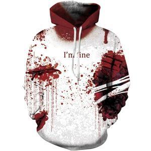 Men's brand hoodie 3D black blood flame