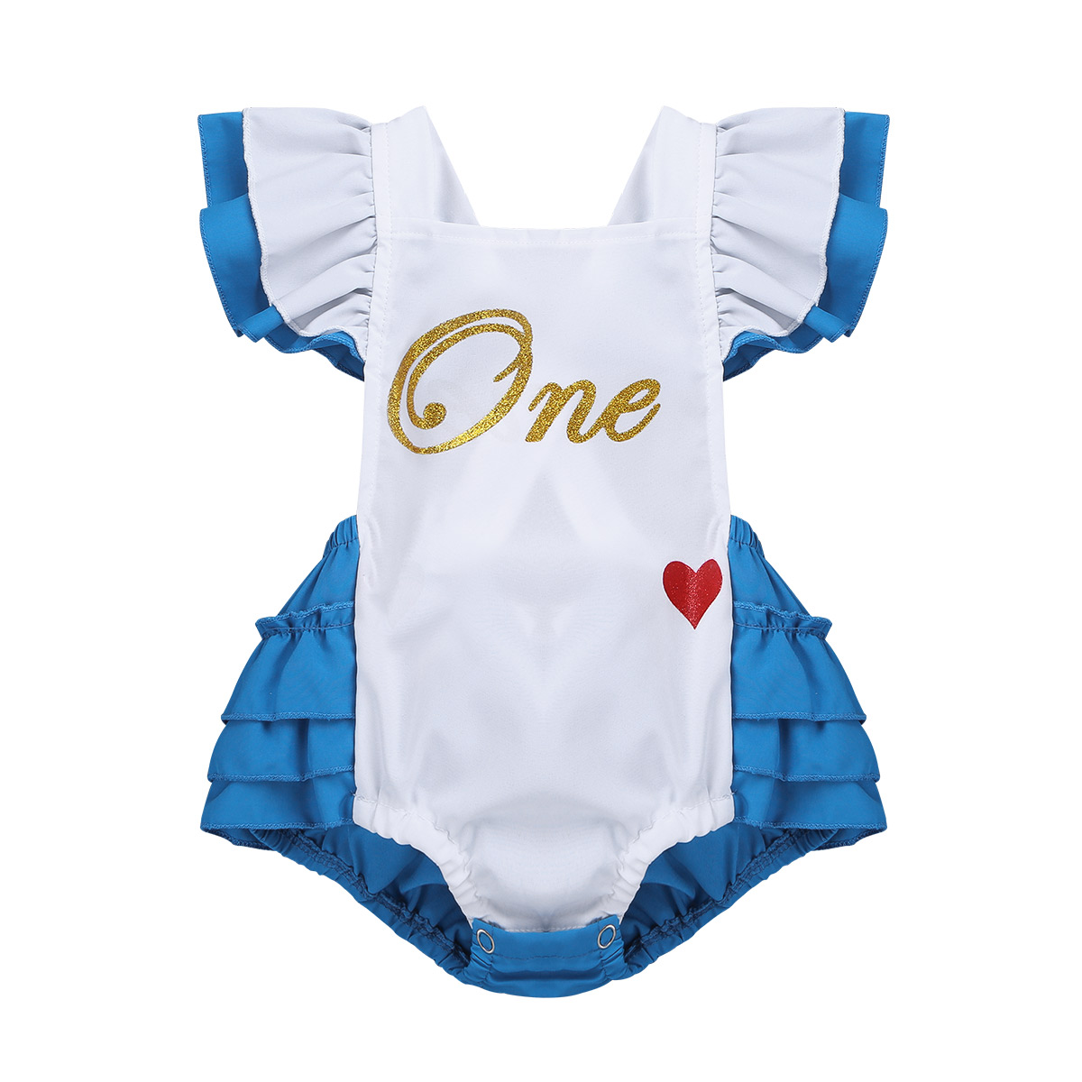 Infantil Baby Girls Fancy Flutter Sleeves Letters One Sweet-heart Pattern Printed Romper for Carnival Cosplay Party Costume