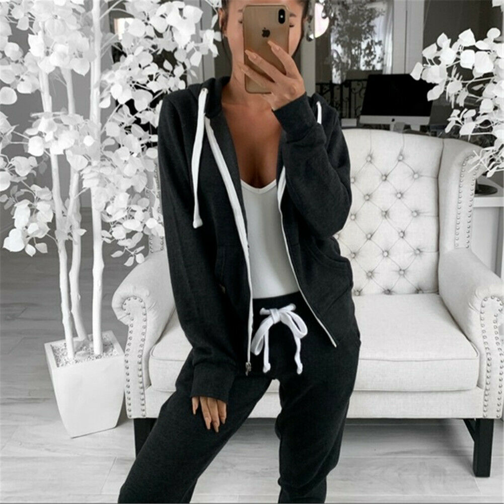 Hot Sell Well 1Pcs Women Tracksuits Long Sleeves Zipper Up Hooded Hoodies Sweatshirt Top Jogging Pants Outfit Set Casual New