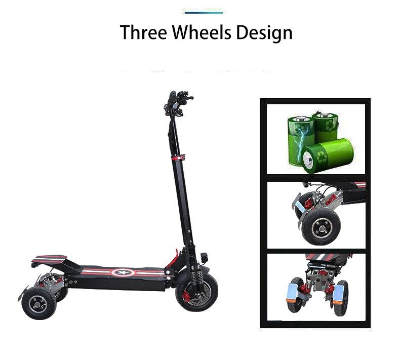 3 rodas scooter elétrico para adultos 1000w