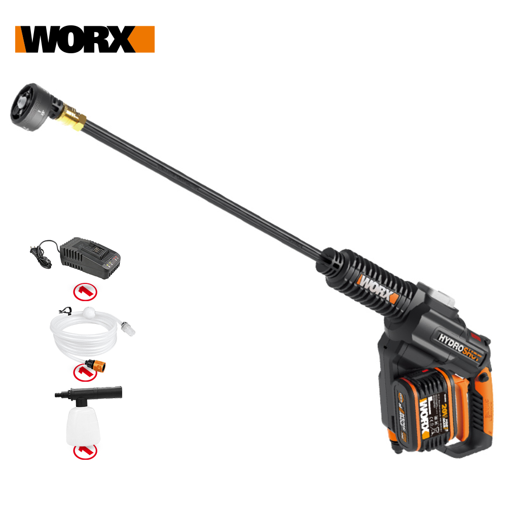 Worx 20V Brushless Hydroshot WG630E.5 Crodless Car Washer Rechargeable High Pressure High Flow Spray gun Portable Cleaner Washin