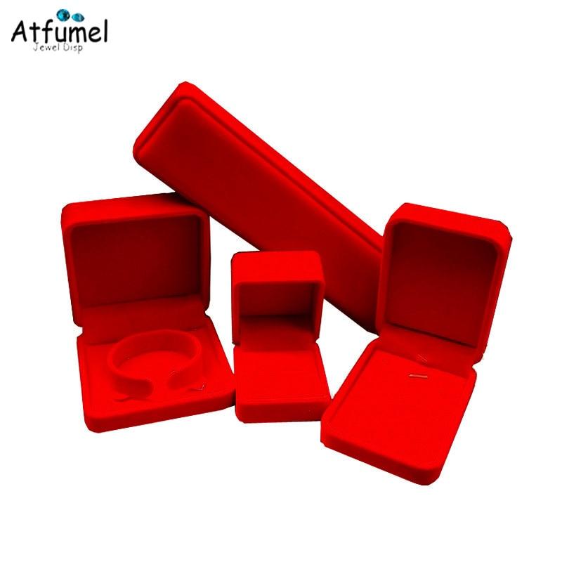Amazing Red Velvet Ring Earrings Necklace Pendant Bracelet Jewelery Box Wedding Ring Holder Storage Organizer Gift Box