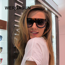 WERGASUN Flat Top Oversized Sunglasses Women Retro Shield Sh