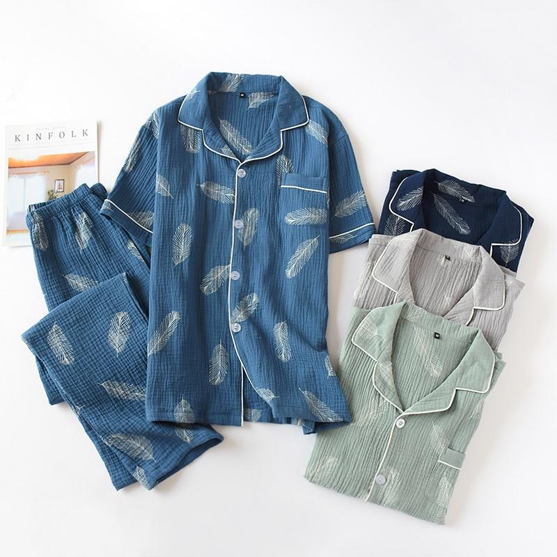 2020 Summer  Men's Cotton Short-sleeved Trousers Suit Men's 100% Cotton Gauze Crepe Pajamas Men's Large Size Loose Home Service