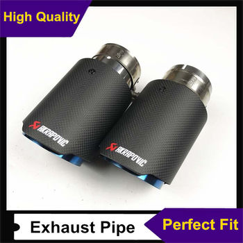 2pcs Car Universal Matte Carbon Fiber + Blue Stainless Steel Single Exhaust End Pipes Auto Muffler Exhaust Tips