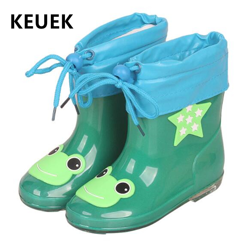 New Children Rain Shoes With Plush Leather Spring Autumn Winter Warm Baby Rain Boots Anti-Slippery Kids Water Shoes 043