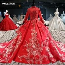 HTL1016 rouge robes de mariée robe de bal appliques col haut à manches longues robe de mariée musulmane robe de mariée longue train vestido noiva