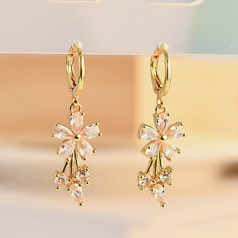 New Gold Yellow Color Filled Women Elegant Crystal Flower Zircon Earrings Birthday Christmas Party Gift Bijouterie