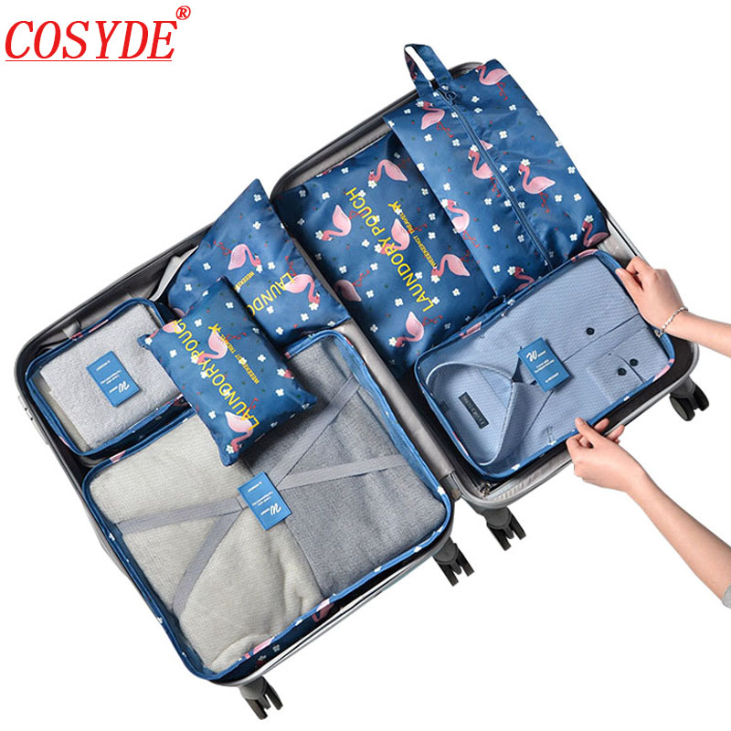 7pcs/set Clothing Cubes Packing Bags Travel Organizer Luggage Oxford All For Travel Bags Organizer The Suitcases Storage Bag