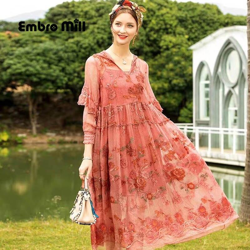 Весна и лето новое шелковое платье с вышивкой уличный стиль женское элегантное свободное платье с капюшоном S XL Платья      АлиЭкспресс