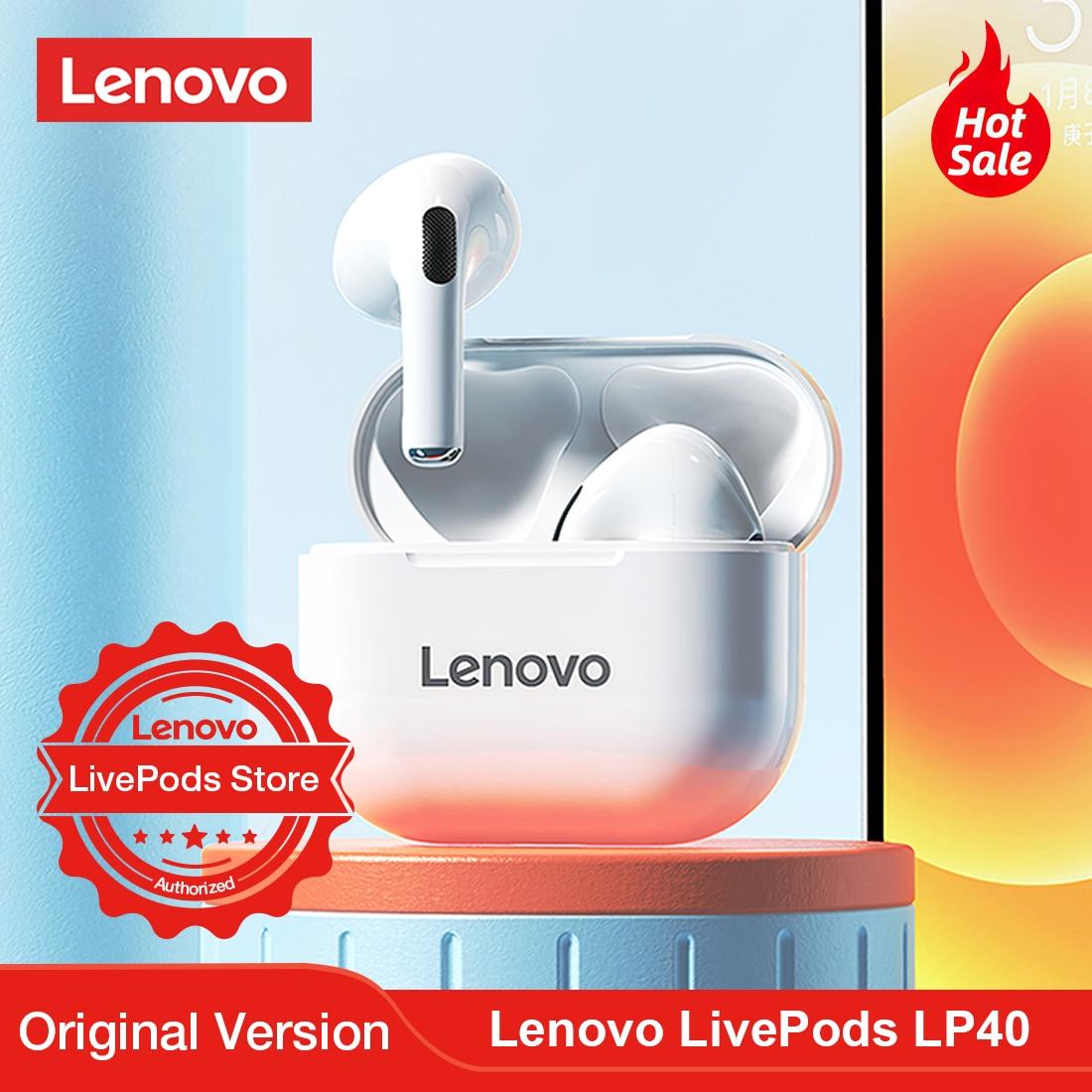 Bluetooth-наушники Lenovo LivePods LP40, TWS, беспроводные мини-наушники, Спортивная игровая Bluetooth-гарнитура, Универсальные наушники для IOS и Android