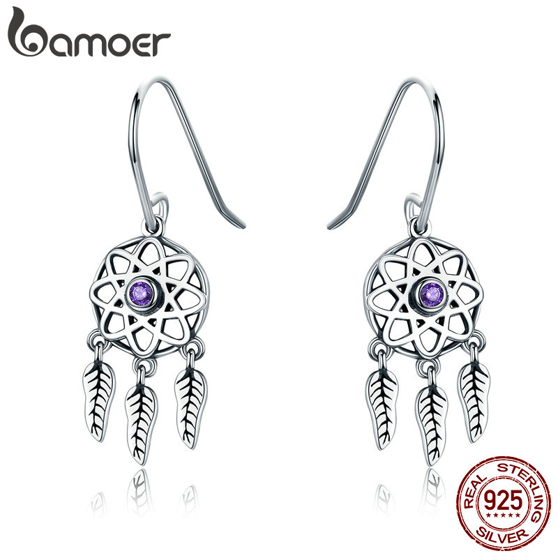 BAMOER Genuine 100% 925 Sterling Silver Dream Catcher Holder Drop Earrings For Women Sterling Silver Jewelry Gift SCE394