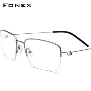 FONEX титановая оправа для очков, мужские полуоправы для очков по рецепту, корейские мужские и женские очки для близорукости, Безвинтовые очки...