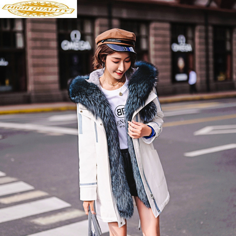 Real Fur Coat Female Natural Rabbit Fur Collar Parka Winter Jacket Women Fox Fur Collar Long Jackets For Women Overcoat