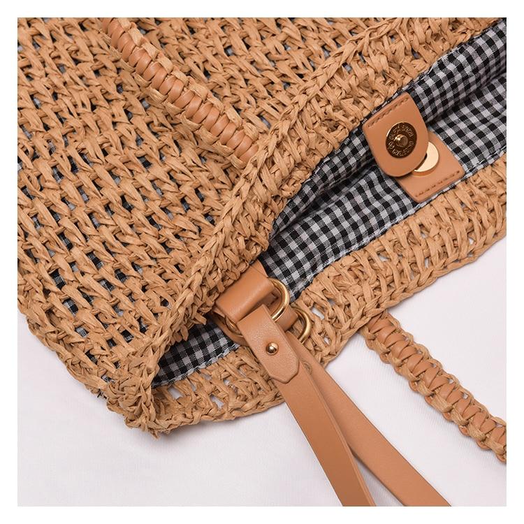 Designer Large Straw Travel Bag with Cross Shoulder Strap for Women 2021