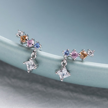 925 Sterling Silver Colorful Zircon Stud Earrings Elegant Japan Korea Style Cute Girls 2019 Womens Jewelry