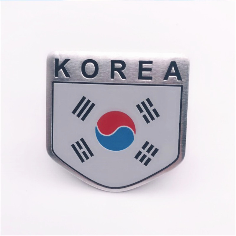 Aluminum Alloy Shield Styling South Korean National Flag Emblem Decals Car Doors Decor Korea Flags Stickers 5x5cm