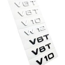 Carta número emblema v6t v8t v10 para audi estilo do carro fender lateral tronco traseiro emblema logotipo adesivo