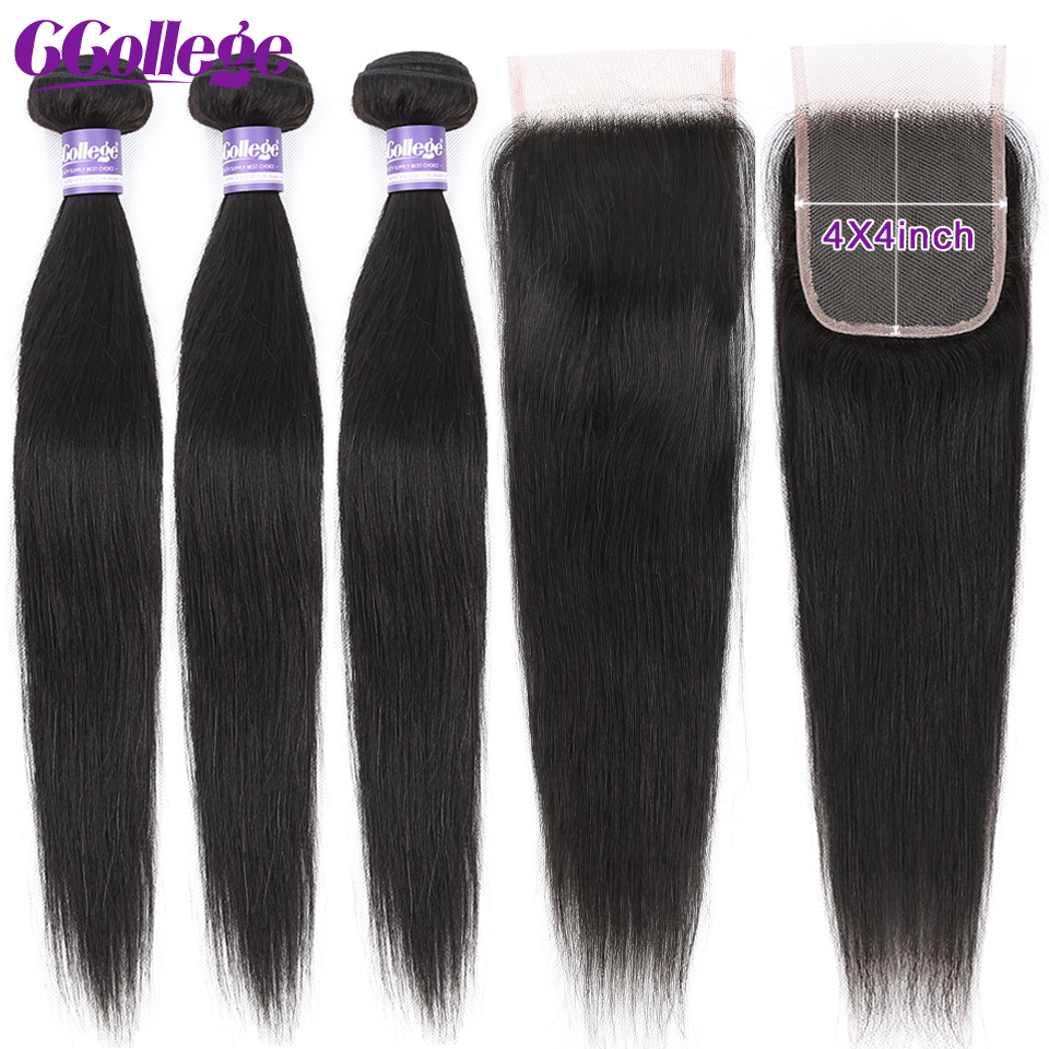 CCollege Peruvian Straight Hair Extension Weave 3 Bundles With Closure 4*4 Lace Closure With Human Hair Bundles Non Remy