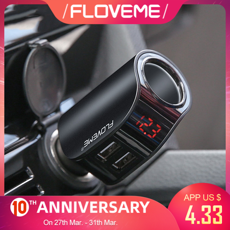 FLOVEME Dual USB Car Charger Digital Display Cigarette Lighter 5V 3.1A Tablet GPS Adapter Charger For Xiaomi iPhone Car-Charger