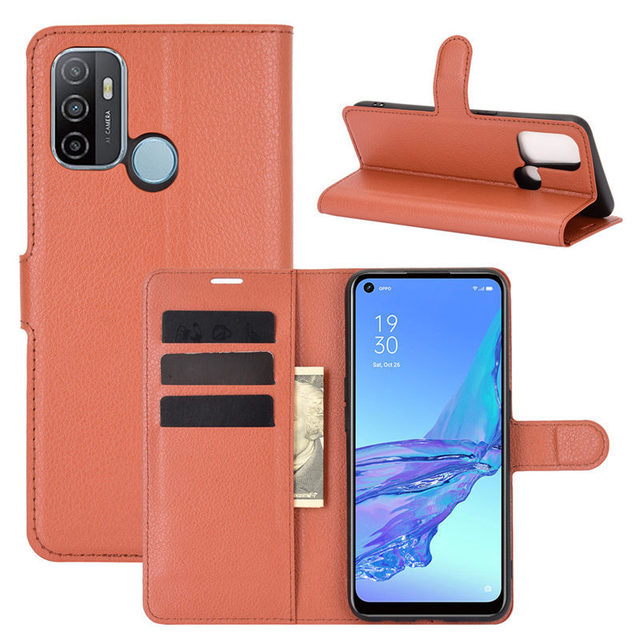500Pcs/Lot Lychee Pattern Flip PU Leather Wallet Phone Case For Oppo Realme 7 Pro 7i C17 X7 Reno 4 SE 4G F17 5G A15 A72 A73 2