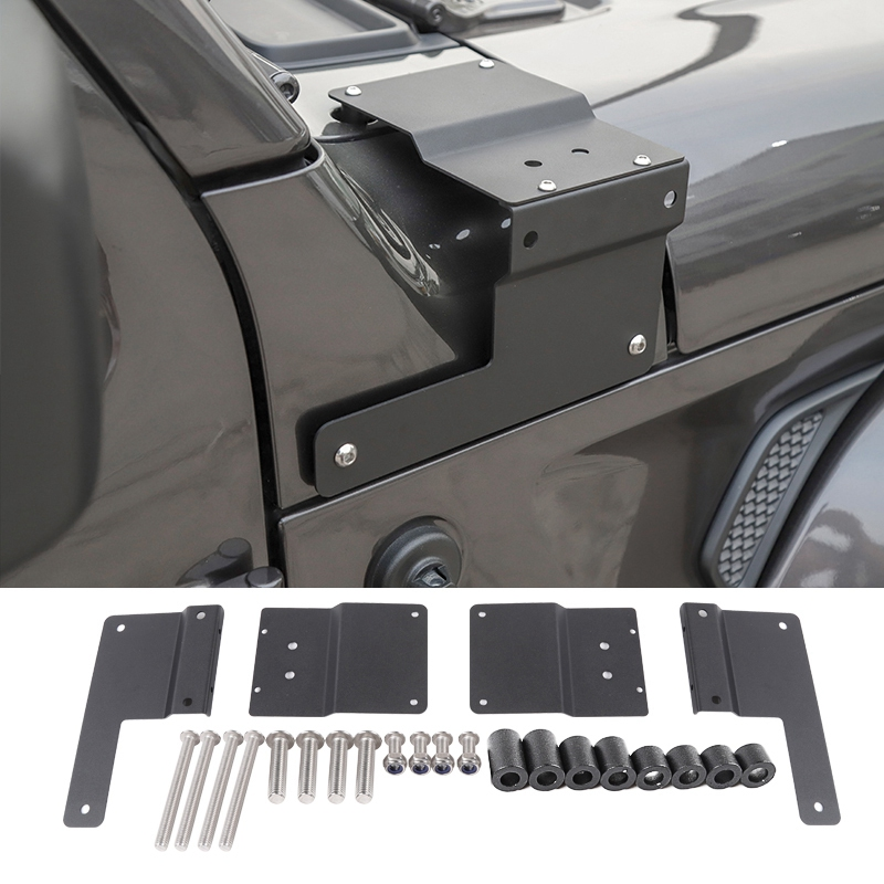 LED Light Bracket For Jeep Wrangler JL 2018+ Hood Headlight Bracket Lamp A-Pillar Light Stand