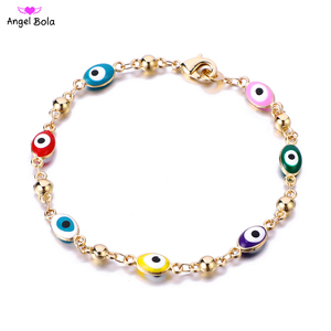 Image 1 - Gold Color Plated Blue Evil Eye Crystal Muslim Charm Islam Bracelets for Women Fashion Jewelry 3 Turkish Blue Eye Bracelet
