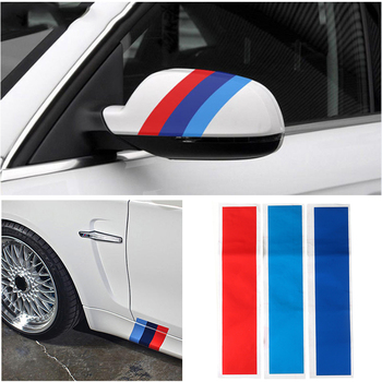 3pcs Universal Internal Car Steering Wheel Strip Sticker Auto Grille Strip Sticker For BMW Germany Italy French Russia Color image
