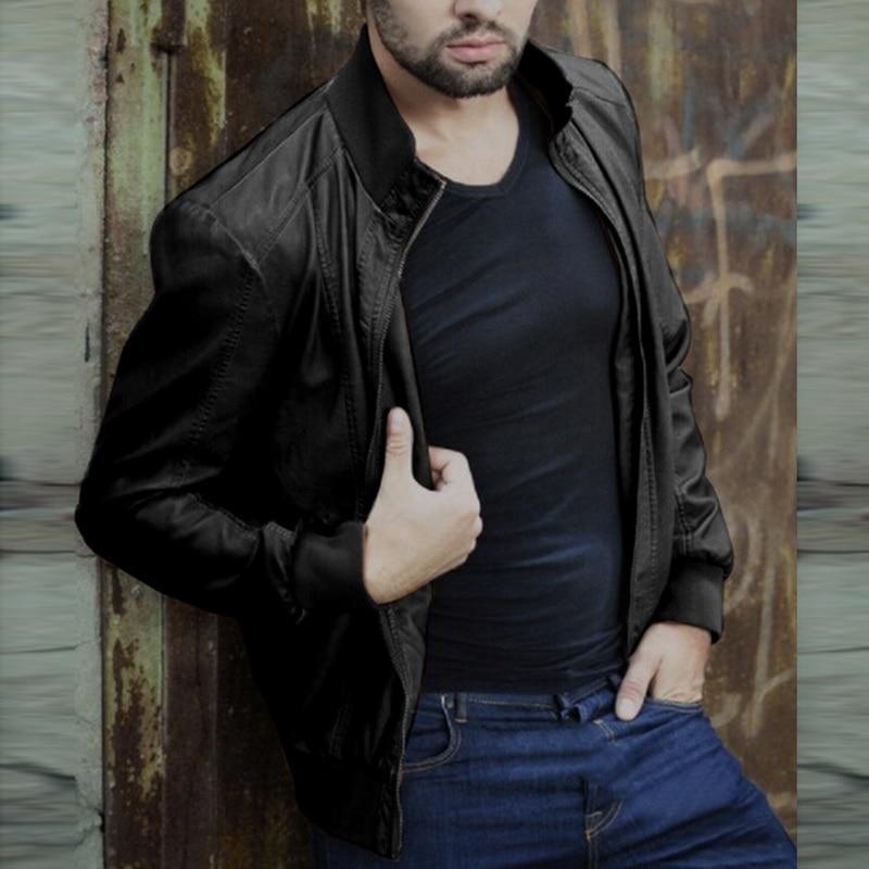 Hdc600cc5d56749c9b9f984c767157242k HEFLASHOR  Autumn Men Fashion Motorcycle Leather Jacket slim fit Coats Male Casaco Masculino Casual Zipper Black jacket