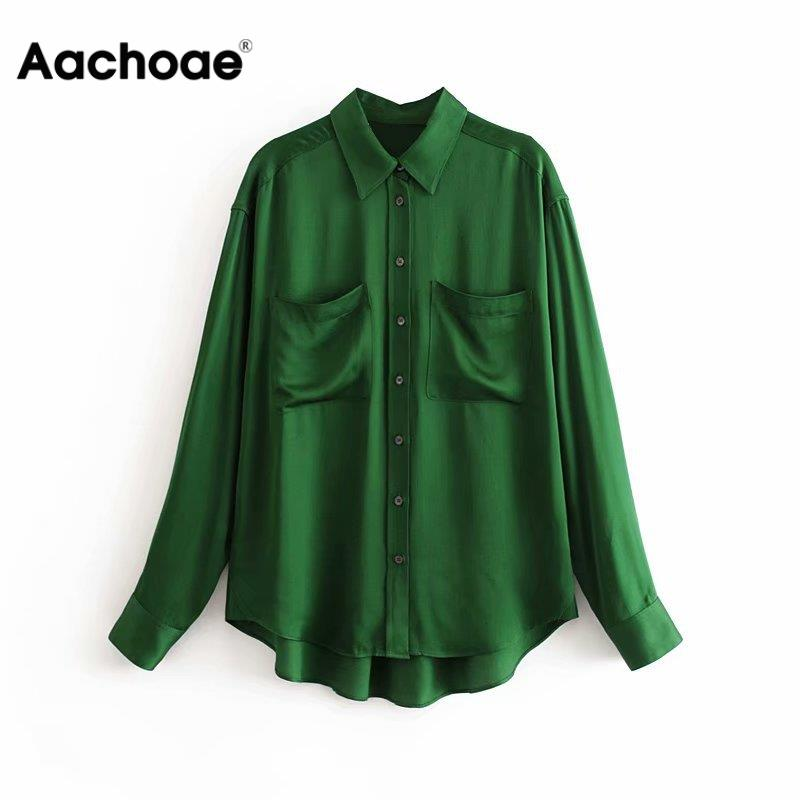 Aachoae Women Vintage Satin Blouse Casual Solid Shirt 2020 Turn Down Collar Office Shirt Long Sleeve Pockets Blouse Top Blusas