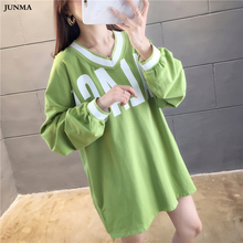 Loose Letter Printed Hoodie Sweatshirt Women Spring Autumn V-neck Long lantern Sleeve Lazy Students Cropped Hoodie Korean Style fuzzy patches lantern sleeve loose sweatshirt