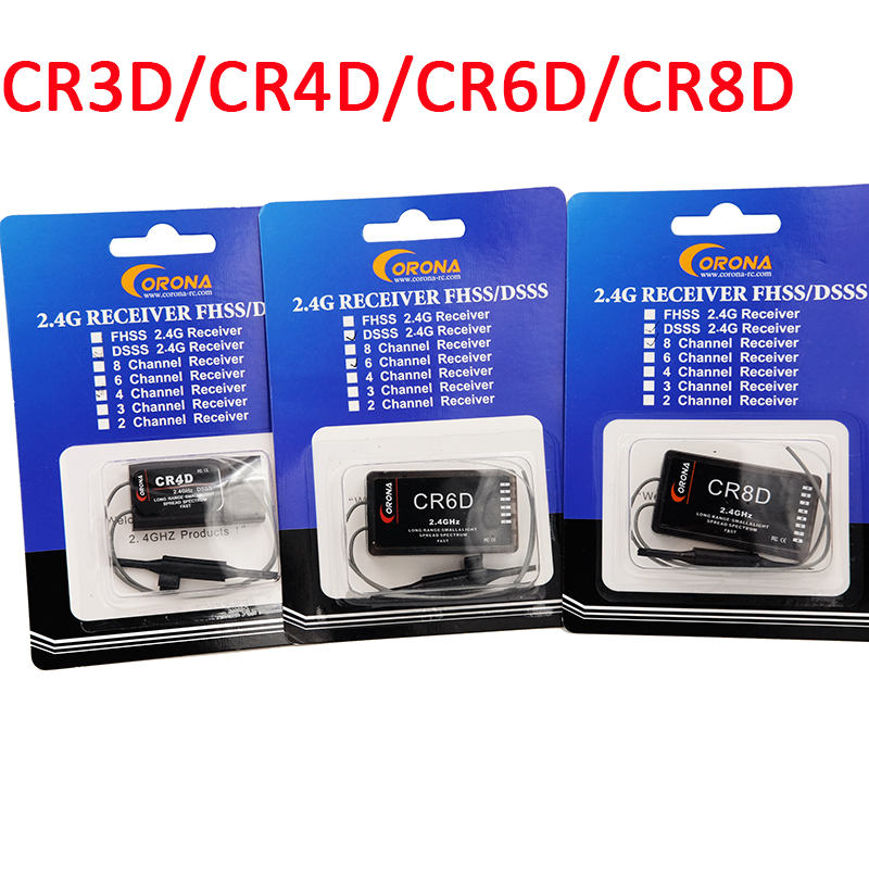 Corona CR3D/CR4D/CR6D/CR8D 2.4Ghz 3CH ~ 8CH Receiver (V2 DSSS) Compatible With CT8Z/CT8J/CT8F For RC Air Plane Fix Wing Drones