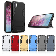For Samsung Galaxy Note 10 Plus Case Dual Layer TPU + PC Hybrid Armor Shockproof Protective Kickstand Cover for