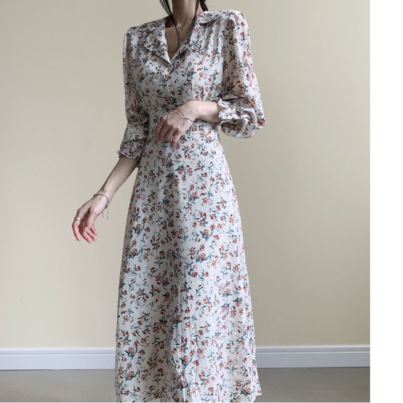 Hdc6047f6f62a45dab16662bf668c41f0h - Autumn Revers Collar Long Sleeves Floral Print Midi Dress