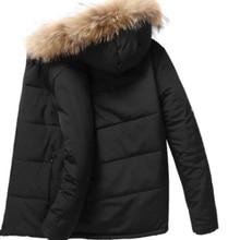 Inverno masculino casaco grosso quente para baixo casaco solto gola de pelé com capuz parágrafo baixo casaco parkas tamanho grande ac