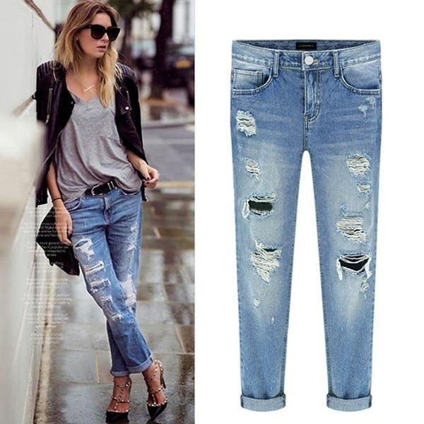 2019 Women Denim Ripped Destroyed Slouchy Ripped Mid Waist  Jeans Mujer Boyfriend Distressed Beggar Femme Torn Pants