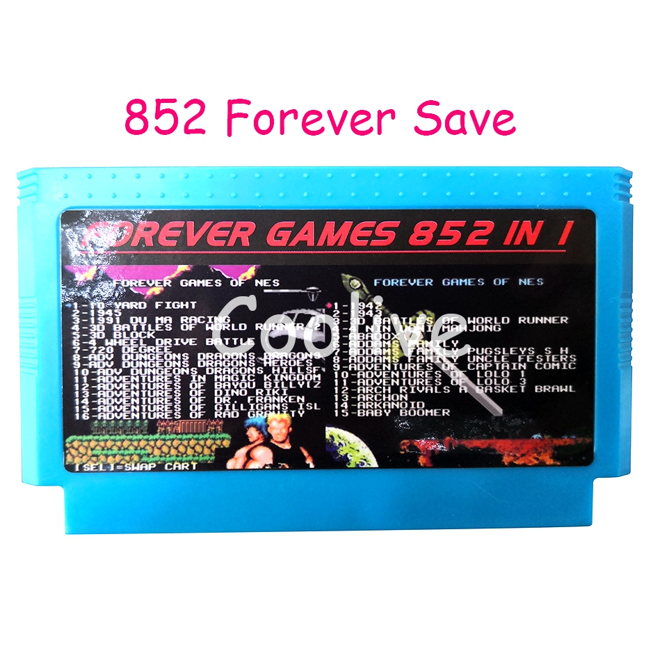 Save 852 in 1 60 Pin Cartridge for 8 Bit Video Game Console with Contra 1942